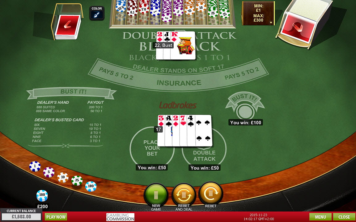 Virtual blackjack table - Double Attack Blackjack At Ladbrokes Casino