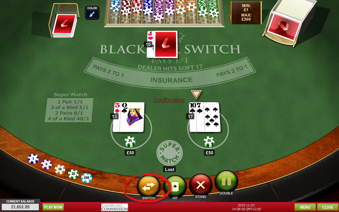 Virtual blackjack table - Blackjack Switch At Ladbrokes Casino